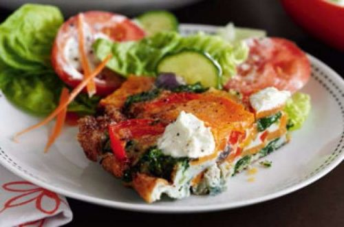 Slimming World's red pepper, spinach and sweet potato tortilla