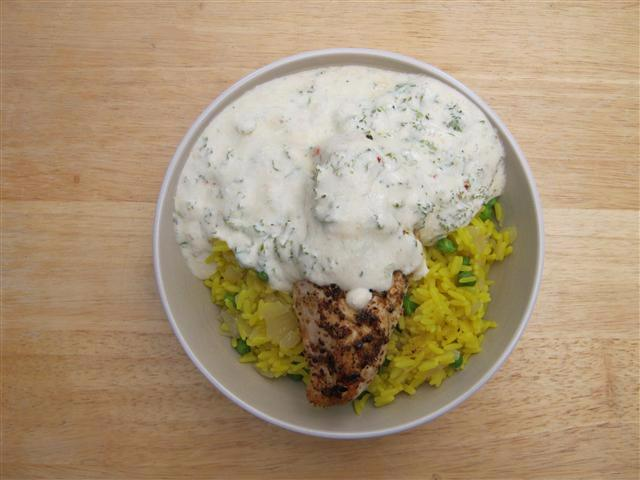 Chicken & Rice with Yogurt Sauce