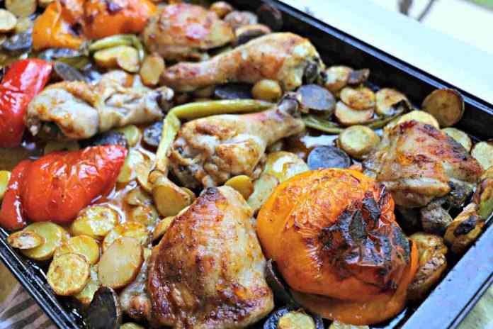 Harissa Coated Chicken with Roasted Veg