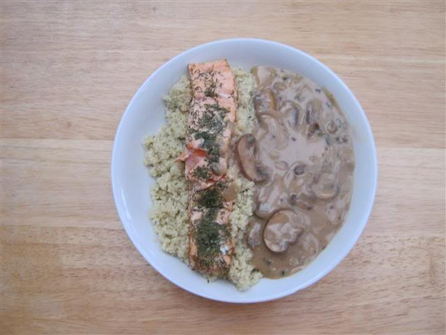 Teriyaki sauce, Mushrooms & Salmon with Couscous