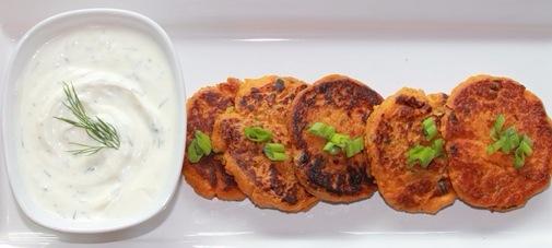 Sweet potato cakes with sweet chili mayo