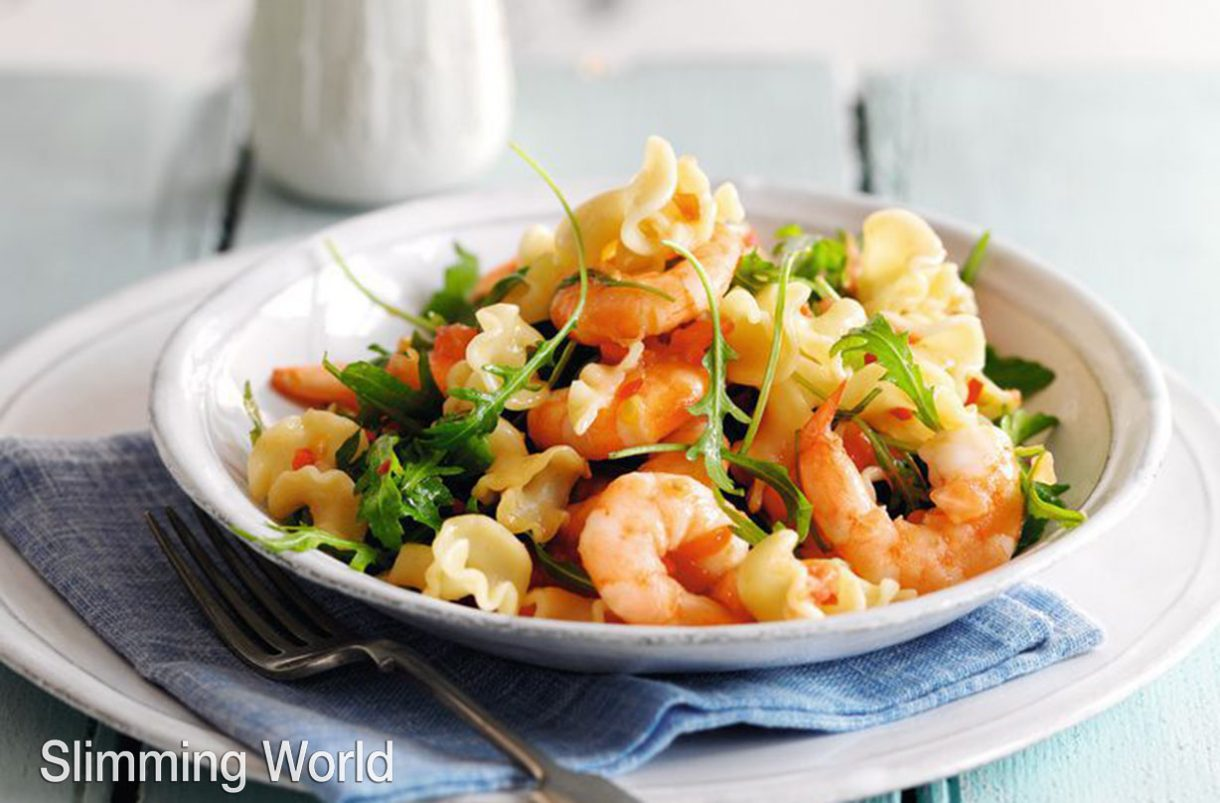 Slimming World recipe: Pasta with prawns, chilli and tomatoes