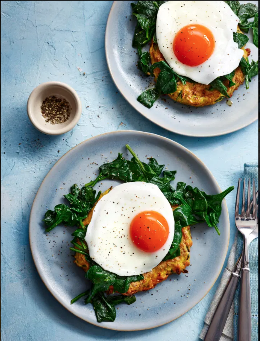 SW recipe: Courgette fritters with eggs florentine