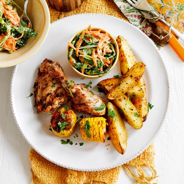 SW recipe: Cajun chicken with spicy potato wedges & coleslaw