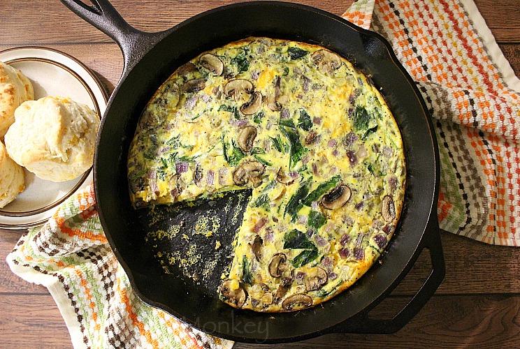 SW recipe: Spinach, mushroom & red onion frittata