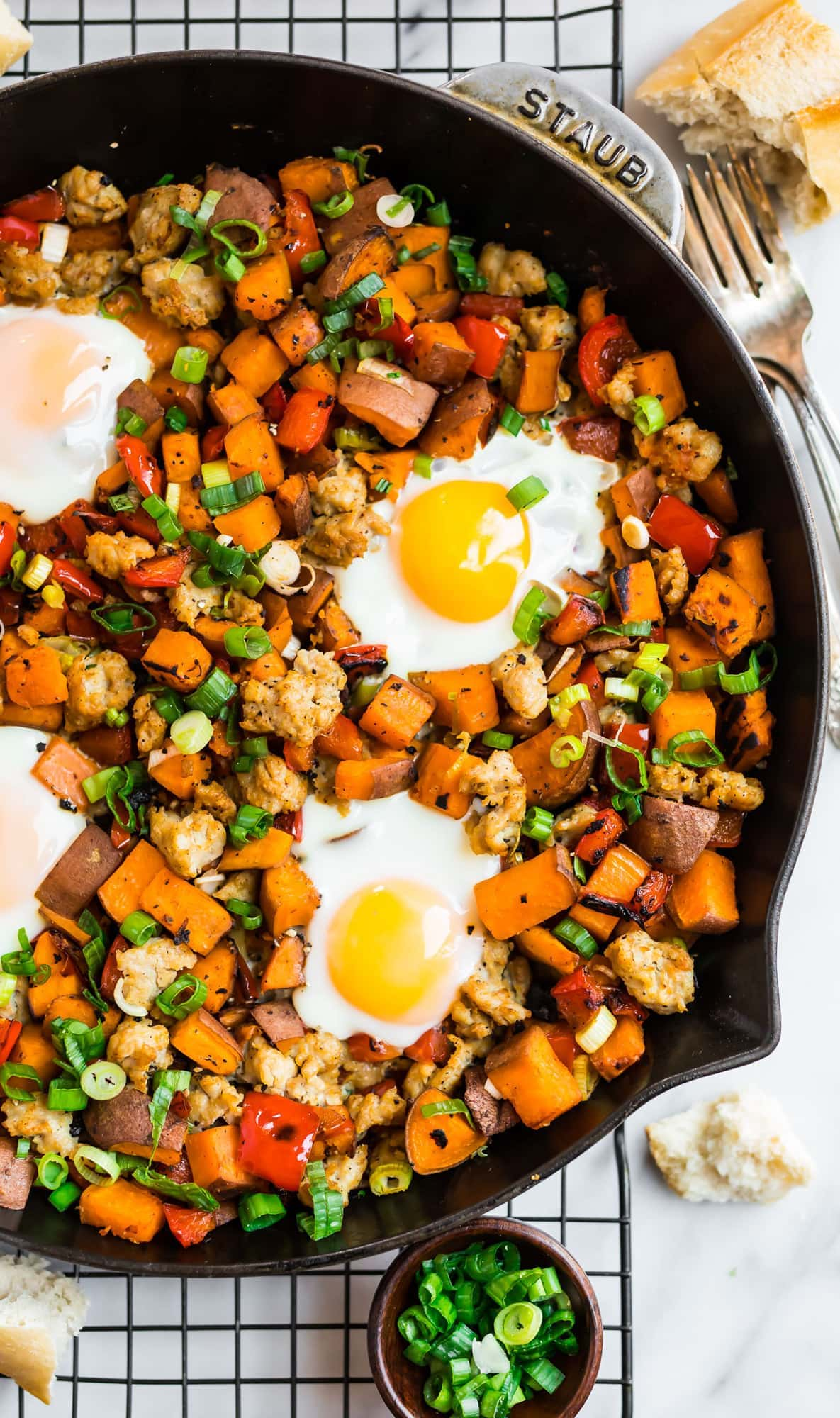 SW recipe: Sweet potatoes and carrot hash with eggs and veggie sausage balls