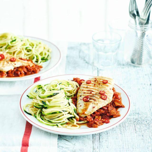 SW recipe: Chicken amatriciana with courgetti and spaghetti