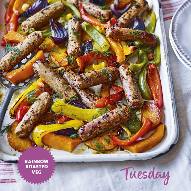 SW recipe: Veggie sausage tray bake