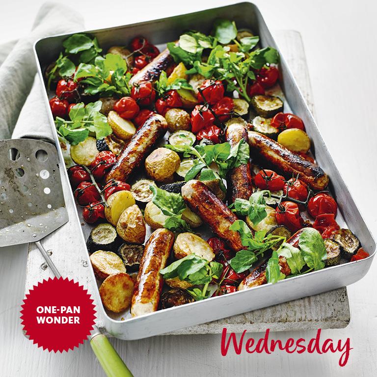SW recipe: Sausage, courgette, tomato and potato tray bake