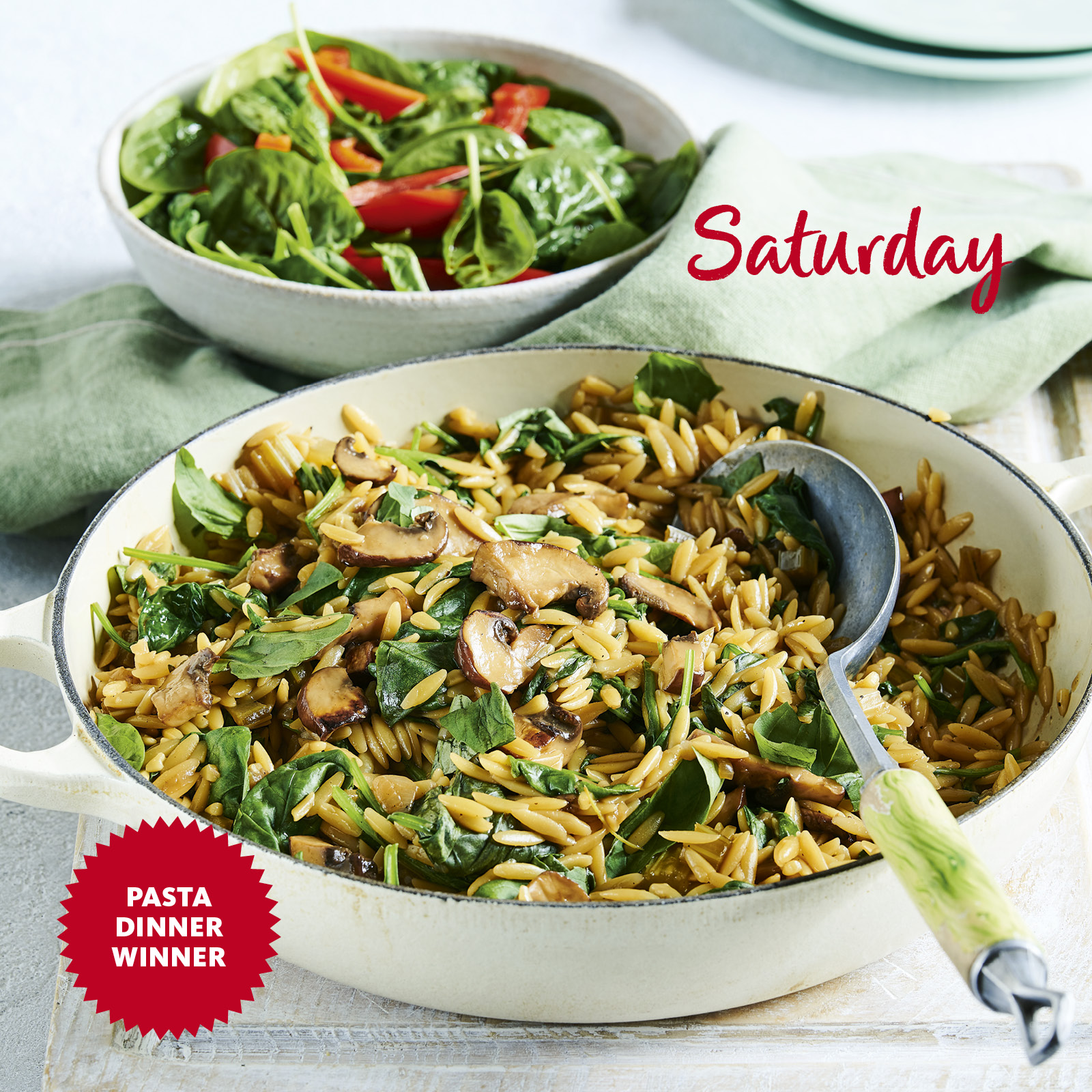 SW recipe: Spinach and mushroom orzo