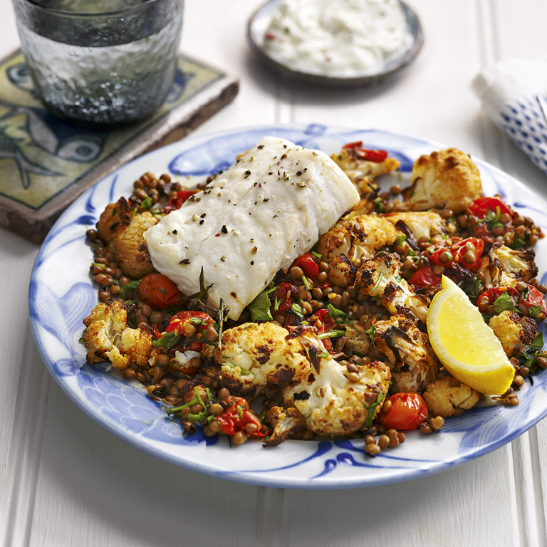 SW recipe: Tray-baked cod with spiced cauliflower and lentils