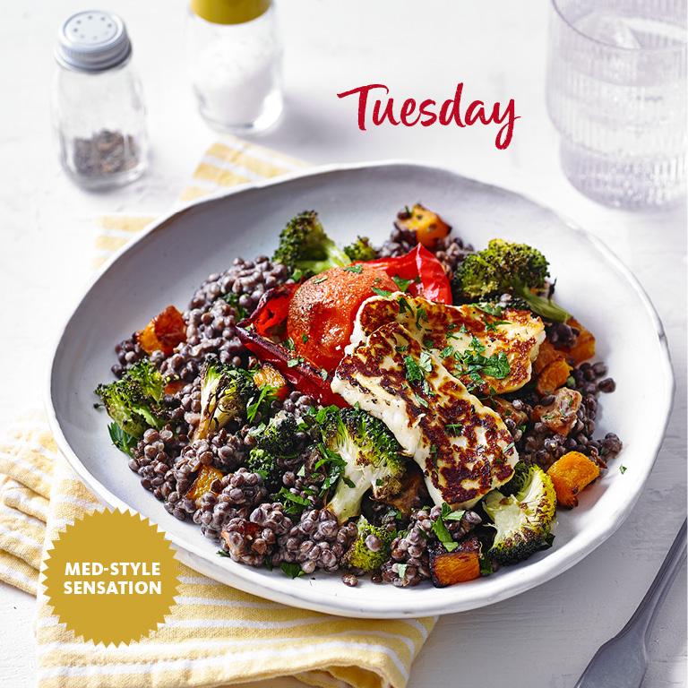 SW recipe: Fried halloumi with roast veg and lentils