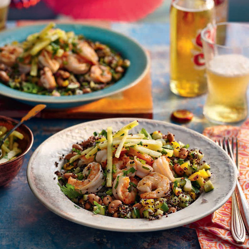 SW recipe: Jumbo prawns with pineapple salsa and pinto bean quinoa