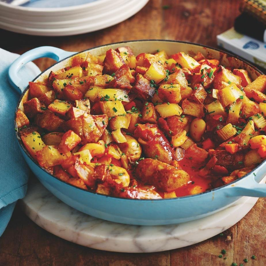 SW recipe: Sausage & bean hotpot with cubed potato topping