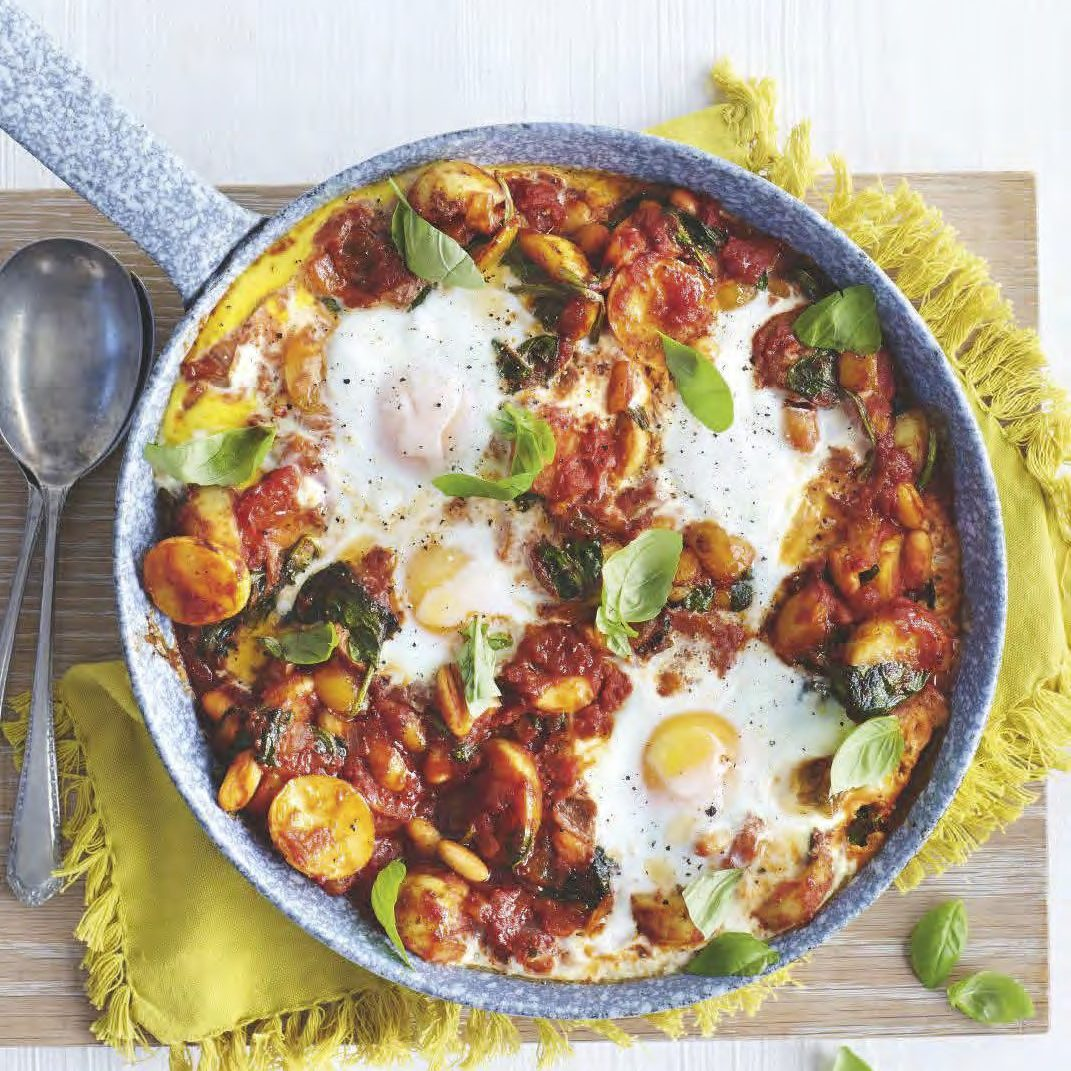 SW recipe: Baked eggs with pepper, spinach & tomato